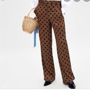 ZARA Brown Poka Dot High waisted Pants